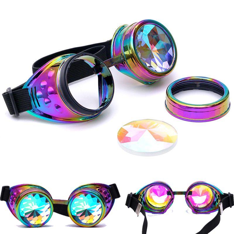 C. F. LUNETTES Halloween Kaléidoscope Coloré Lunettes Steampunk Femmes Rétro Lunettes Hommes Partie EDM lunettes de Soleil Diffracté Lentille