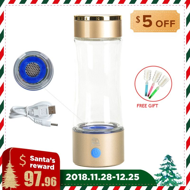 High Concentration 1000-1200ppb Hydrogen Water Bottle USB Rechargeable 320ml Alkaline Water Maker Anti Aging Water Ionizer
