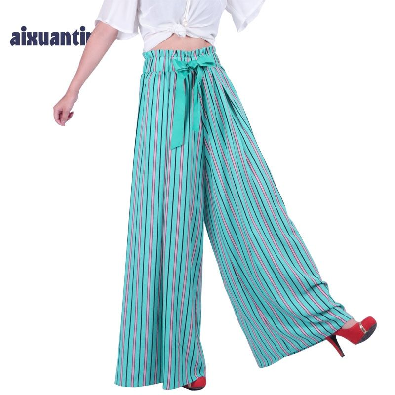 Women Summer Casual Loose Trousers Sashes Elast Chiffon High Waist Stripend Lady Striped Wide Leg Harem Flared Pants Plus Size