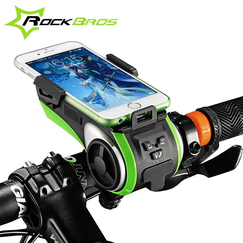 ROCKBROS 5 In 1 Double LED Bicycle Light+Bluetooth Audio MP3 Player Speaker+Charging Power Bank+Ring Bell+Bicycle Phone Holder