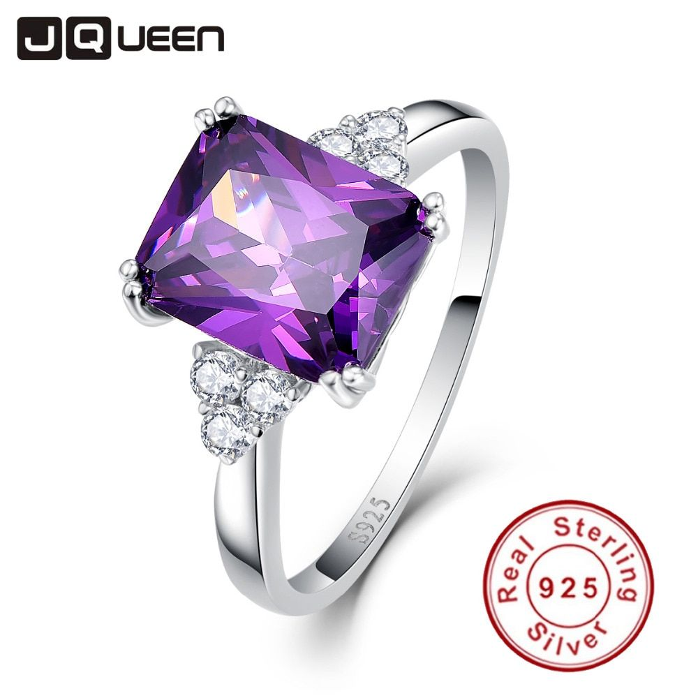 Vintage Jewelry 5.25ct Amethyst 925 Sterling Silver Ring emerald Cut Purple Nature stone Women Wedding Anel Aneis Gemstone Rings