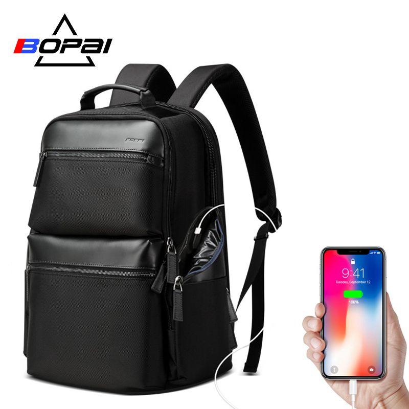 BOPAI Anti theft USB Lade Rucksack Reise Laptop Tasche Kuh Leder für 15,6 zoll Große Kapazität Business Rucksack Wasserdicht