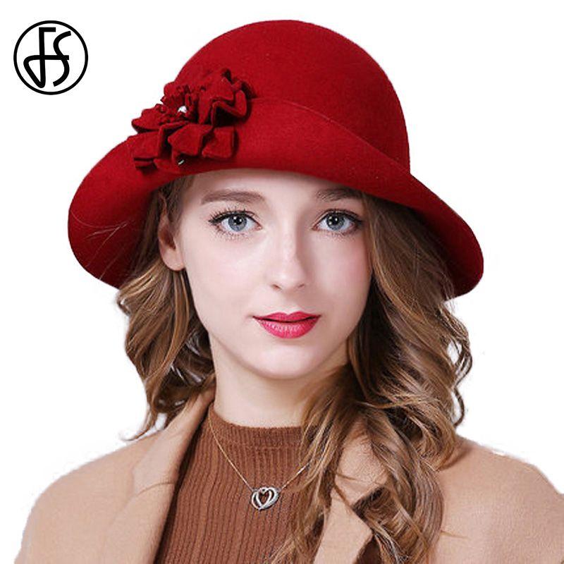 FS Elegant Women 100% Wool Fedoras Felt Hats For Ladies Vintage Curl Brim Winter Flower Bowler Cloche Hat Red Blue Gray Black