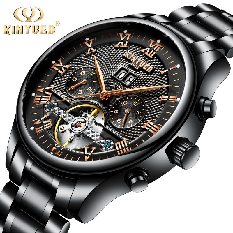 KINYUED Men's Self-Wind Tourbillon Mechanical Watches Water Resistant Automatic Skeleton Watch Men Relojes Hombre 2018 Dropship