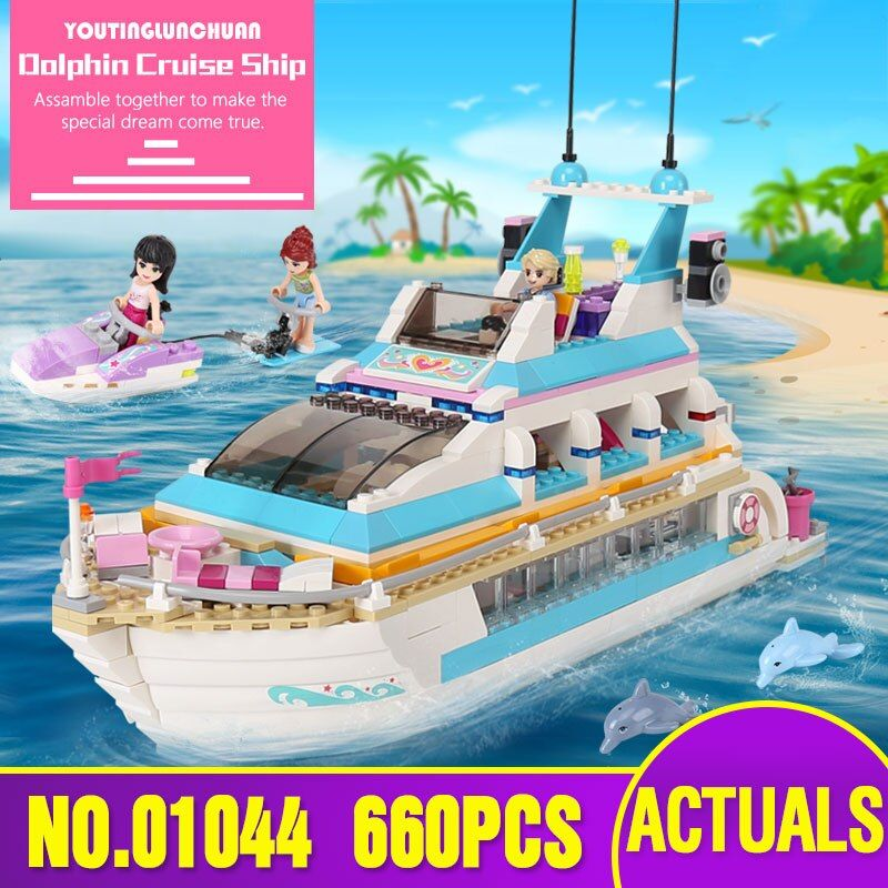 Lepin 01044 Friends Girl Series 661pcs Building Blocks toys Dolphin Cruiser kids Bricks toy girl gifts Compatible Legoing 41015
