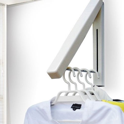New Stainless Folding Wall Hanger Mount Retractable Indoor Clothes Rack Rack Clothers Organizationn