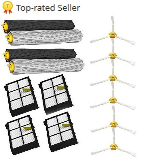 2 set Tangle-Free Debris Extractor + 4 Hepa filter + 6 side brush fit for iRobot Roomba 800 900 Series 870 880 980