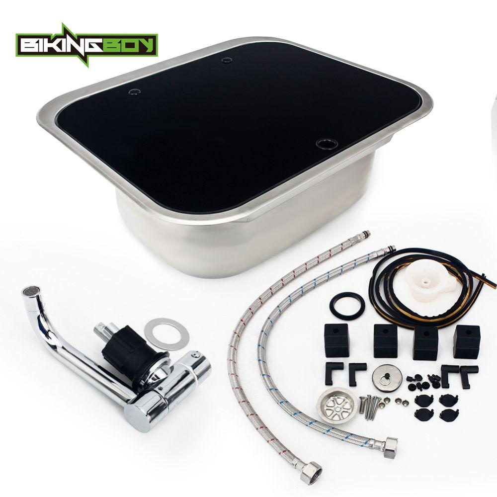 BIKINGBOY Silber Universal Gehärtetem Glas Edelstahl Hand Waschbecken Küche Waschbecken Für RV Wohnwagen Wohnmobil Boot