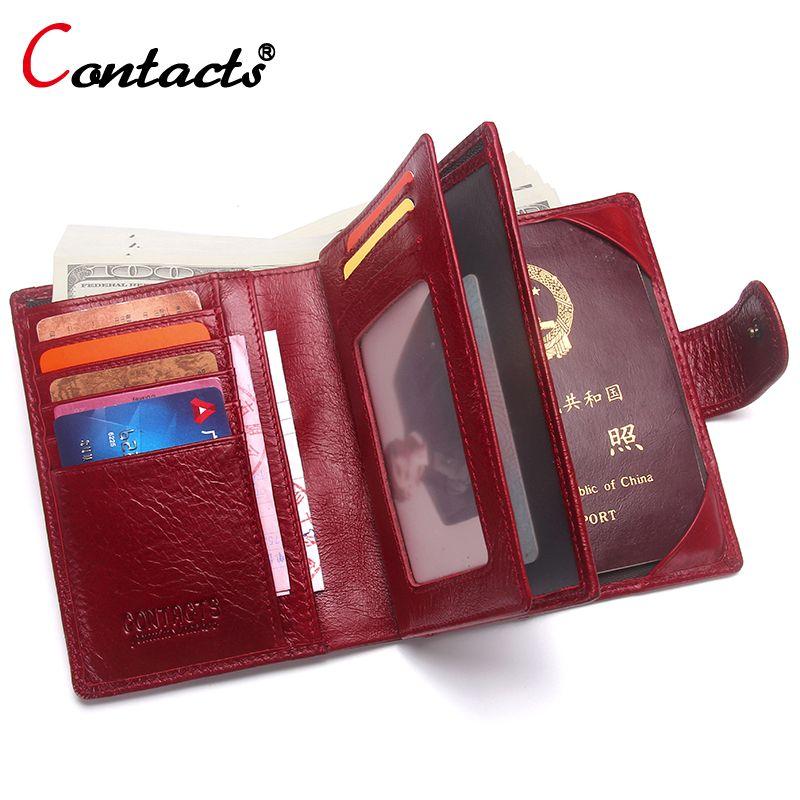 CONTACT'S Unisexe Femmes Portefeuille Femme Sacs À Main En Cuir Véritable Hommes Portefeuille Passeport Couvercle Passeport Titulaire D'un Passeport Cas Titulaire de la Carte