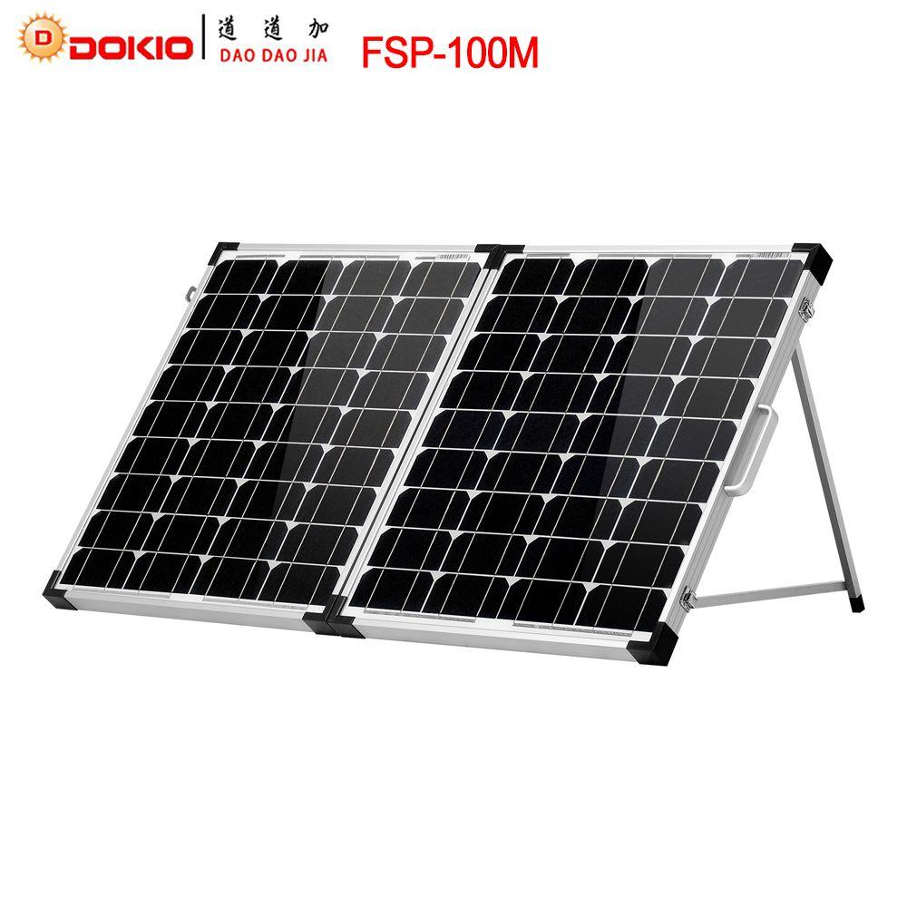 Dokio Marque 100 W (2 Pcs x 50 W) Pliable Panneau Solaire Chine 18 V + 10A 12 V/24 V Contrôleur Solaire Batterie Cellulaire/Module/Système Chargeur