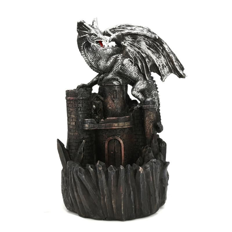 KiWarm Waterfall Dragon Backflow <font><b>Ceramic</b></font> Cone Incense Burner Holder Censer Tower Buddhist Gift Miniatures Figurines Home Decor