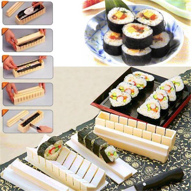 11pcs/set DIY Sushi Maker Rice Mold Kitchen Sushi Making Tools Set Household Sushi Roller Cooking Tools