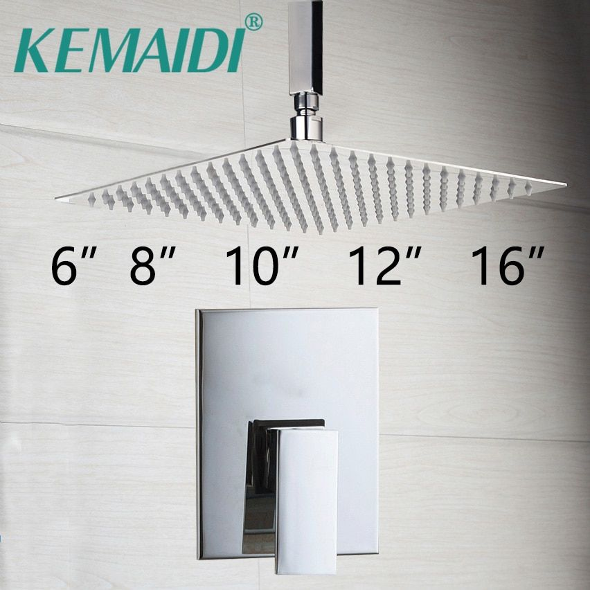KEMAIDI Bathroom Ceiling Mount Ultra-thin Rainfall Shower Head&Control Valve <font><b>Wall</b></font> Mounted Hot&Cold Water Mixer Taps Shower Sets