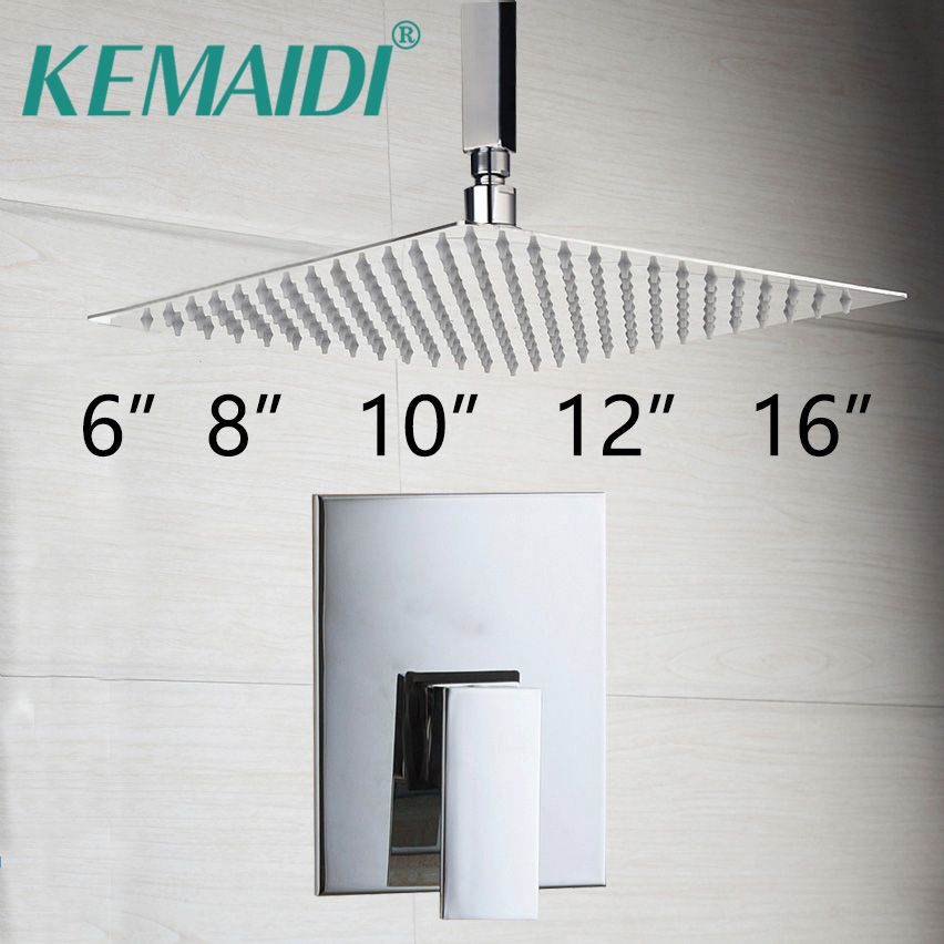 KEMAIDI Bathroom Ceiling Mount Ultra-thin Rainfall Shower Head&Control Valve Wall Mounted Hot&Cold Water Mixer Taps Shower Sets