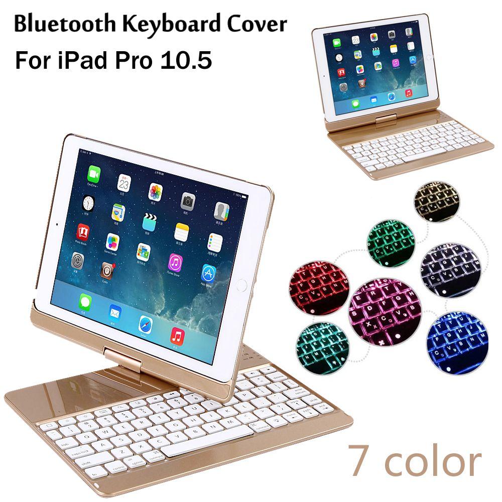 Neue 2017 Für iPad Pro 10,5 360 grad-umdrehung 7 Farben Hintergrundbeleuchtung Licht Drahtlose Bluetooth Tastatur Fall Abdeckung + Geschenk