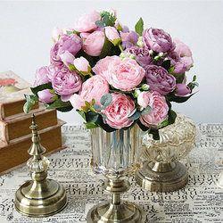 2018 hermosa Rose Peony flores artificiales pequeño ramo flores casa primavera partido decoración de la boda flor falsa