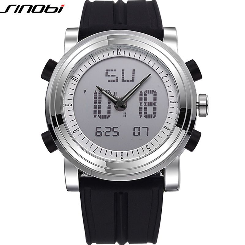 SINOBI Sports Watch Men's Wrist Watches Digital Quartz Clock 2 Movement Waterproof Watch Top Luxury Brand Chronograph Male <font><b>Reloj</b></font>