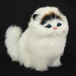 Rambut Asli Elektronik Hewan Peliharaan Kucing Boneka Simulasi Hewan Kucing Mainan Meowth Lucu Anak-anak PET Mewah Mainan Model Ornamen Xtmas hadiah