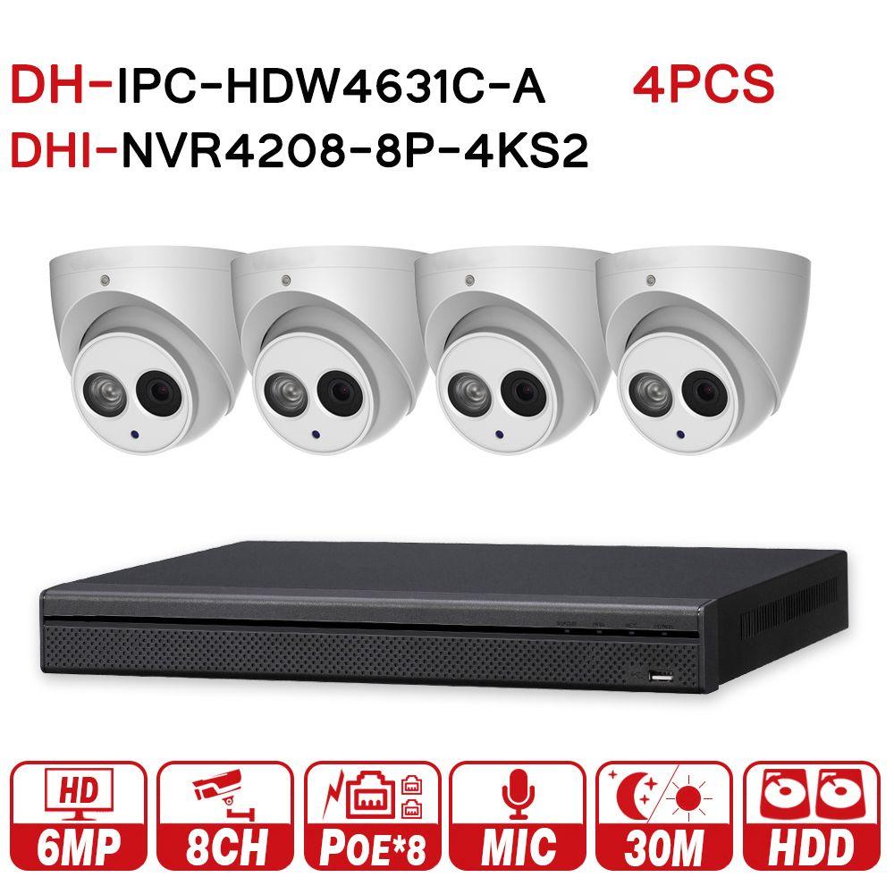 DH original Security CCTV System 4pcs 6MP IP camera IPC-HDW4631C-A & 8POE 4K NVR NVR4208-8P-4KS2 Surveillance Security System