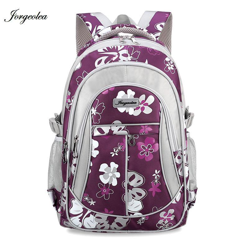 Jorgeolea школьная сумка для Обувь для девочек на молнии Детский рюкзак, мода портфель Сумки на плечо рюкзак