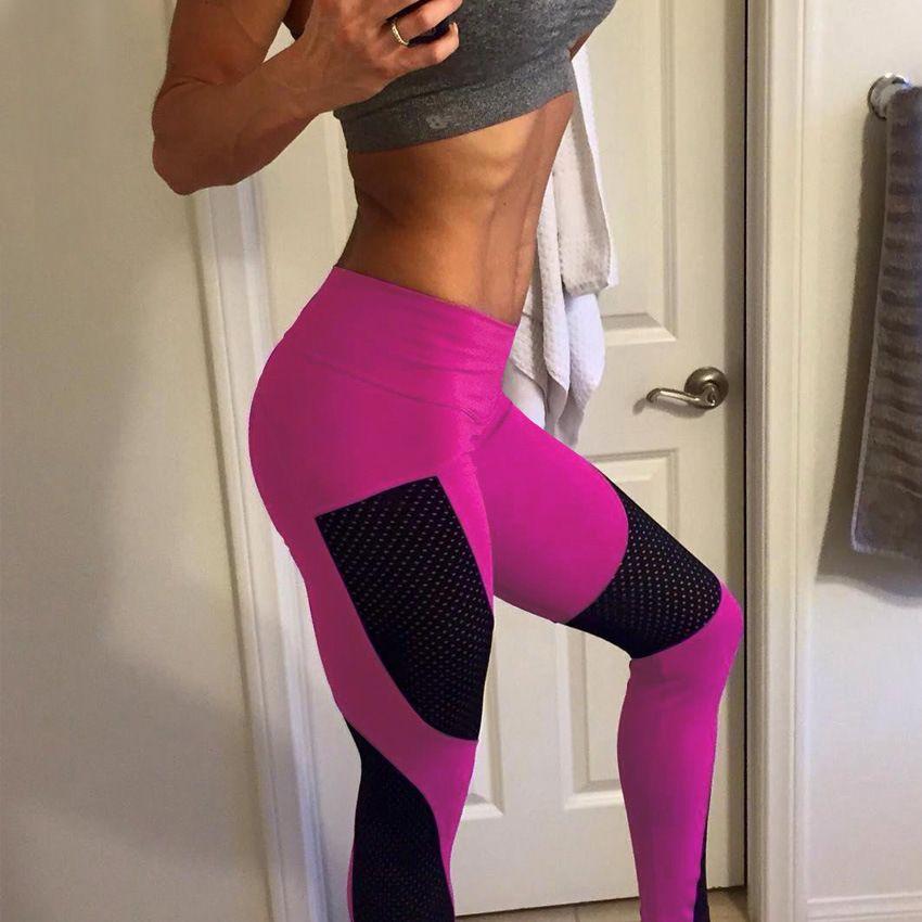 Для женщин Push Up Леггинсы для женщин Высокая талия эластичный розовый тренировки Леггинсы Брюки для девочек Лето 2017 г. Модные женские Фитнес ...
