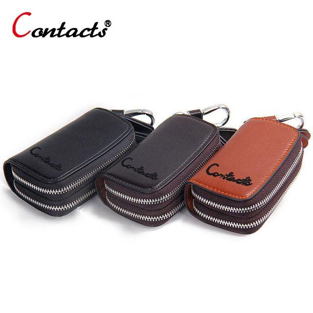 CONTACT'S Brand Genuine Leather Key Holder For Men Key Wallet For Car Key Case Housekeeper Women <font><b>Organizer</b></font> Key Chain Keychain