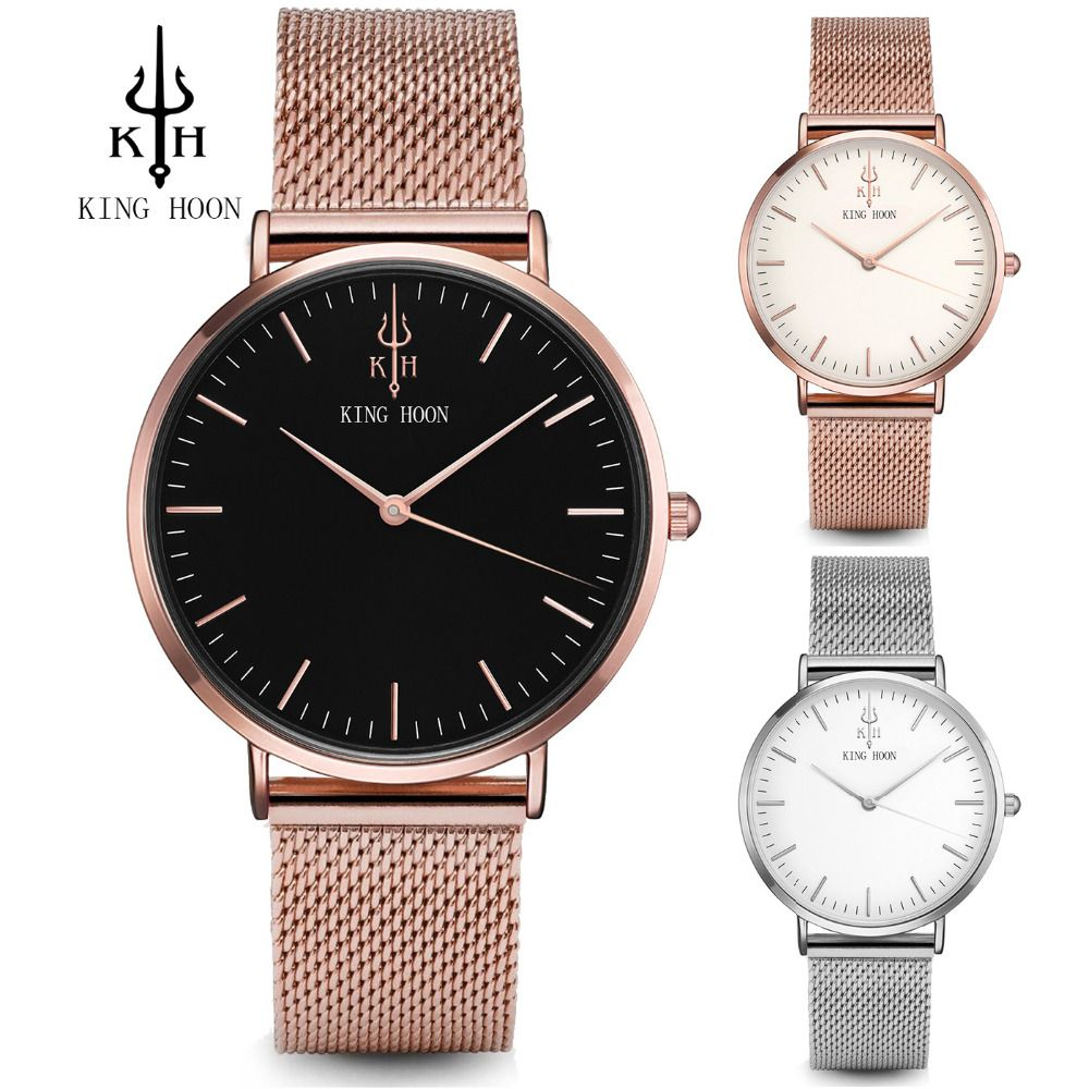 KING HOON Women Watches Top Luxury Brand Rose Gold Silver Leather Steel Quartz Wrist Watch relogio feminino Clock <font><b>montre</b></font> femme