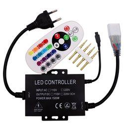 220 V/110 V RGB controller 1500 W dengan 24key IR remote dimmer US plug/EU plug 8mm/10mm PCB Gratis pengiriman