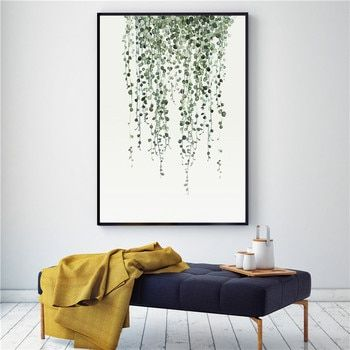 Home Decor Watercolor Plant Leaves Poster Print Landscape Wall Art Canvas Painting Picture for Living Room Cactus Decoration