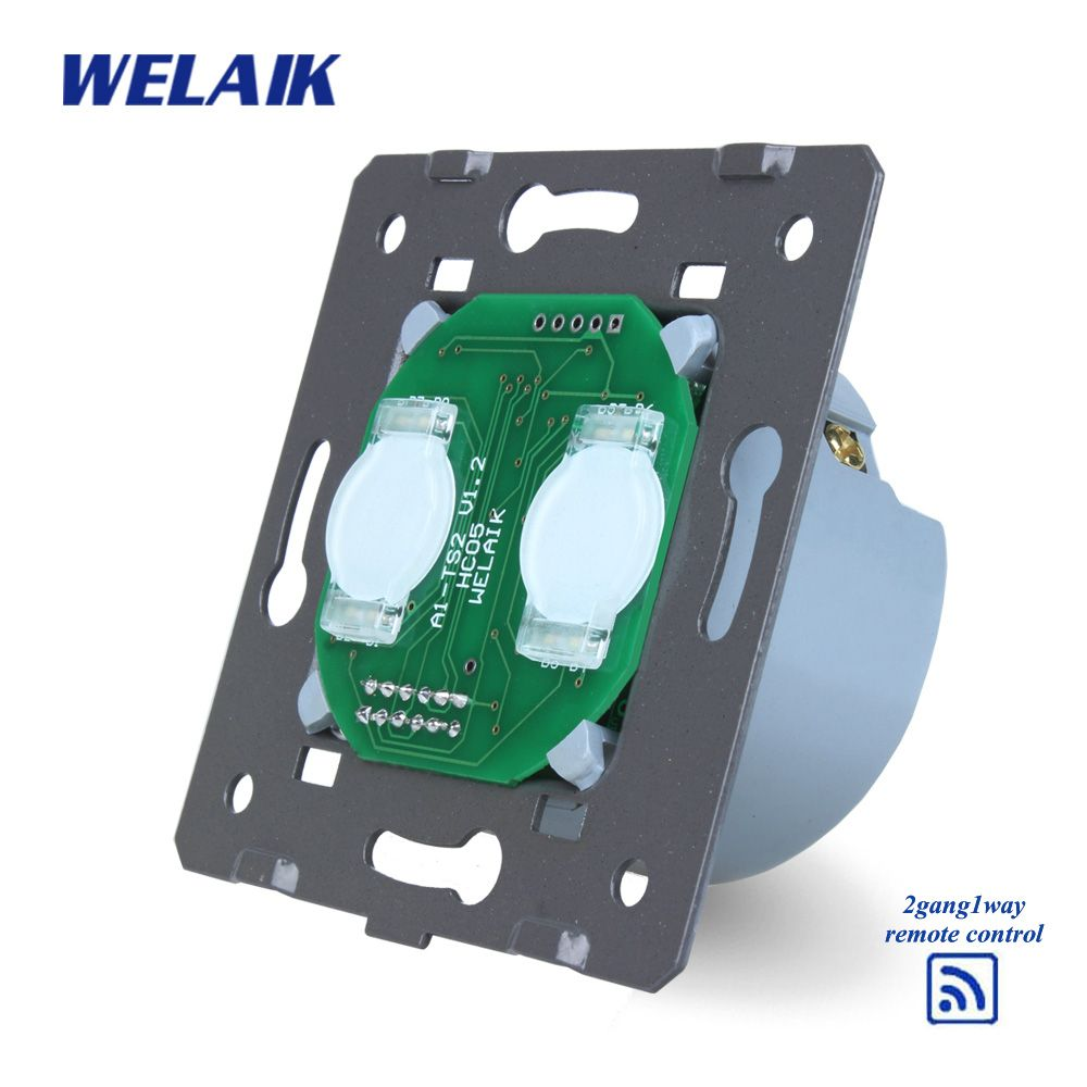 WELAIK Switch White Wall Switch EU Remote Control Touch Switch DIY Parts Screen Wall Light Switch 2gang1way AC110~250V A923