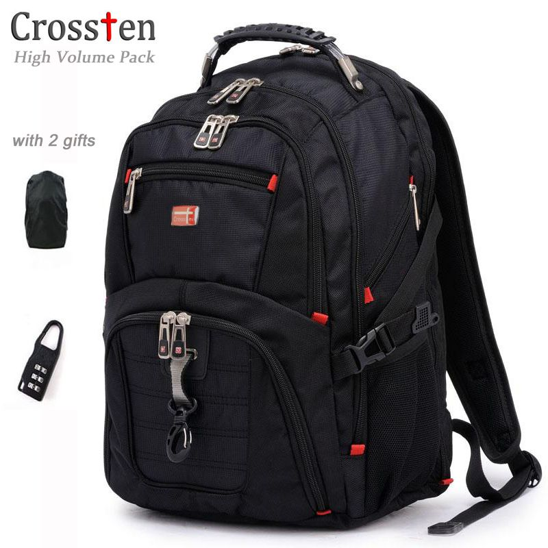 Crossten Top quality Multifunctional Swiss Waterpro Laptop Backpack for 17 laptop Versatile Schoolbag Large <font><b>Capacity</b></font> Travel Bag