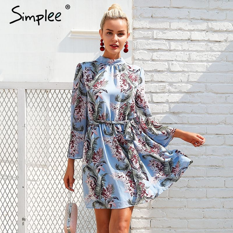 Simplee Backless lace up summer dress women Flare sleeve floral print chiffon dress Beach casual short dress robe femme 2018