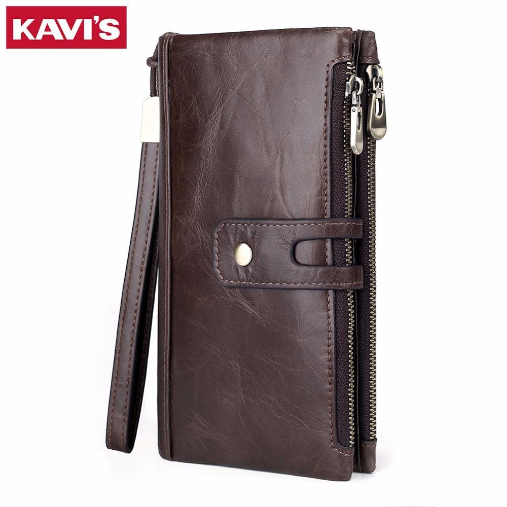 KAVIS New Genuine Leather Men Wallet Male Cell Phone Clutch Coin Purse Walet Portomonee PORTFOLIO Clamp For Money Bag Handy Long