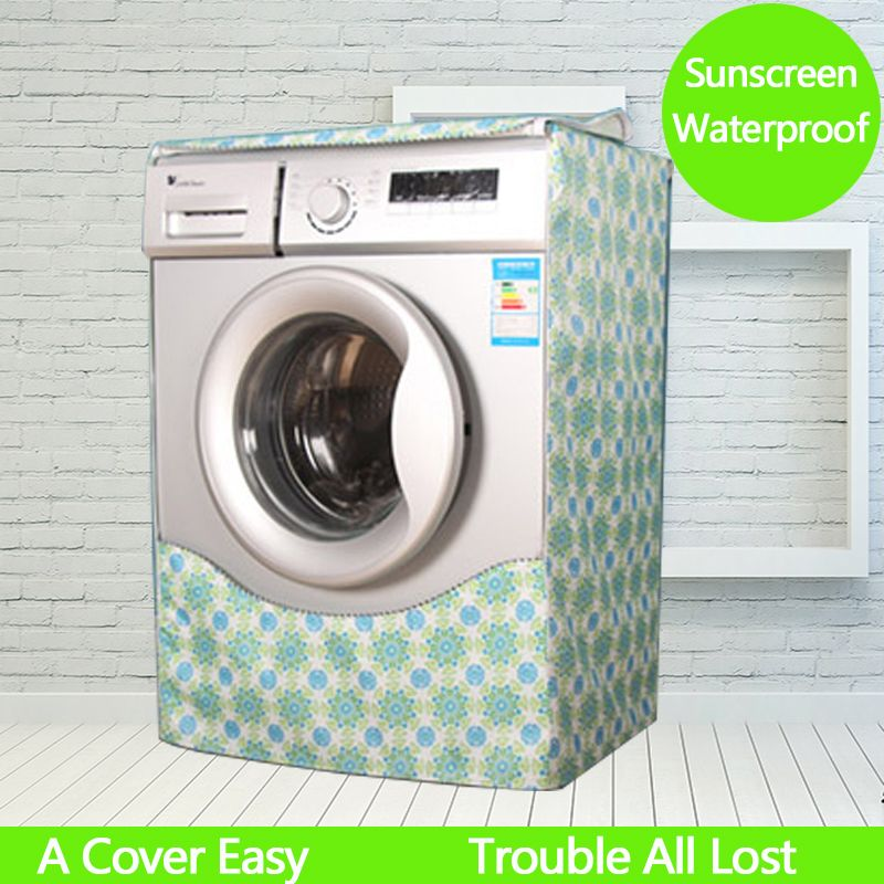 Waterproof Washing Machine Cover Printing Coated Silver Oxford Cloth Drum Washer Dustproof Sunscreen Protection Cover