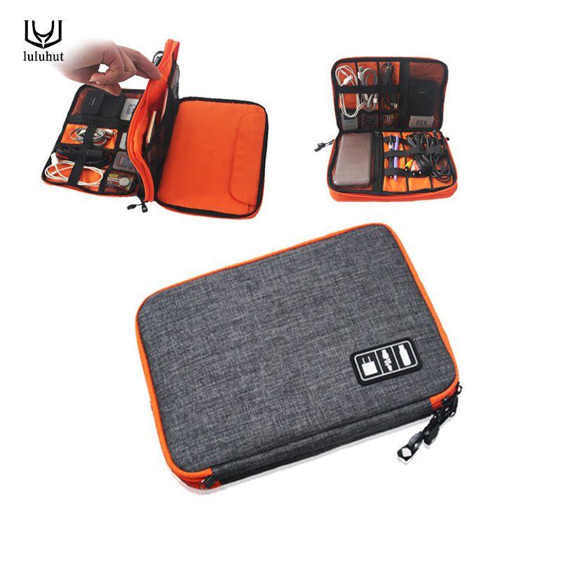 luluhut waterproof <font><b>Ipad</b></font> organizer USB data cable earphone wire pen power bank travel storage bag kit case digital gadget devices