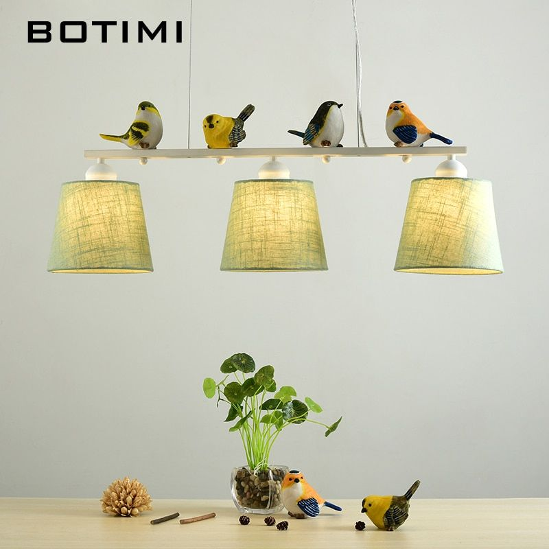 BOTIMI Birds LED Pendant Lights For Dining Rooom Fabric Lampshades Hanging Light E27 Suspension Bar Lamp Cords Lighting Fixture
