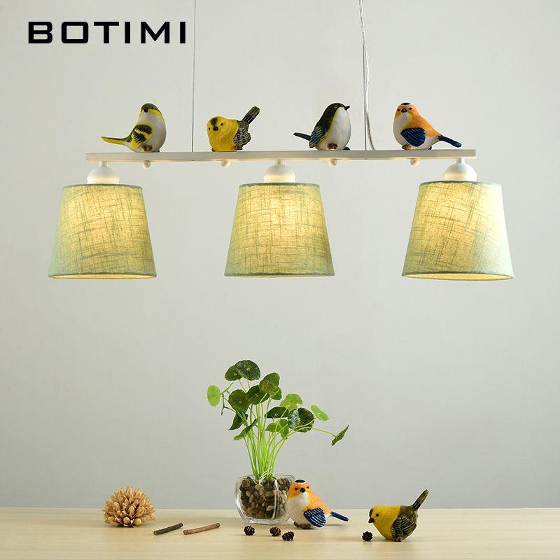 BOTIMI Birds LED Pendant Lights For Dining Rooom Fabric Lampshades Hanging Light E27 Suspension Bar Lamp Cords Lighting Fixture