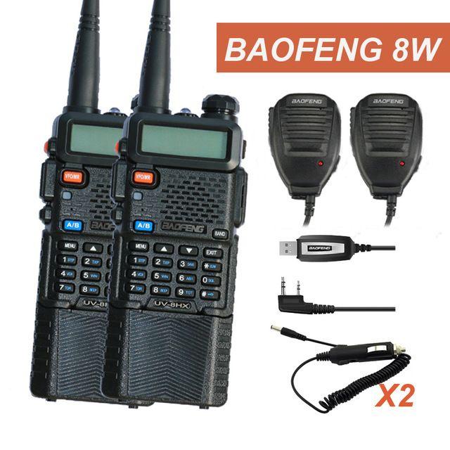 2 Pcs Baofeng Radio UV-5R Baofeng 8W walkieTalkie UV-8HX 128CH VOX Ham Radio Long Distance CB Transceiver for Hunting Radio