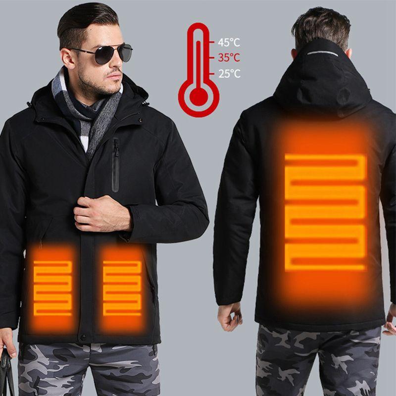 Hommes femmes hiver épais USB chauffage coton vestes extérieur imperméable coupe-vent randonnée Camping Trekking escalade ski manteaux