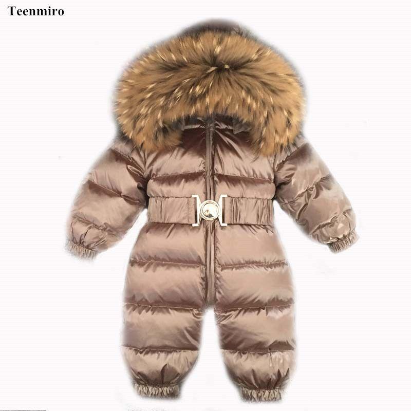 Ropa de Bebé recién nacido Invierno Snowsuit Infantil Bebé Onesie Niños Parka de Piel de Pato Abajo Niño Mono Del Mameluco Monos Chica Generales