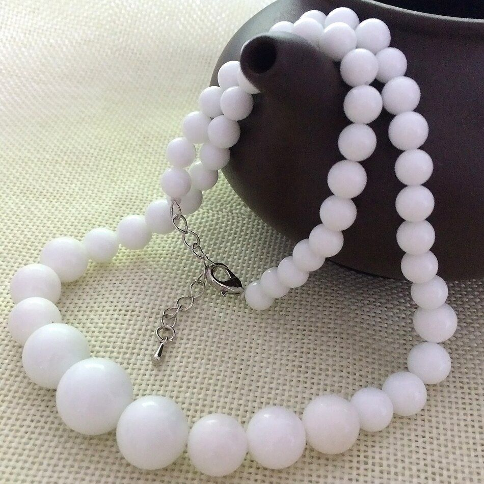 European style 6-14mm natural stone white gems shell  round beads tower necklace chain choker for women jewelry 18inch GE1225
