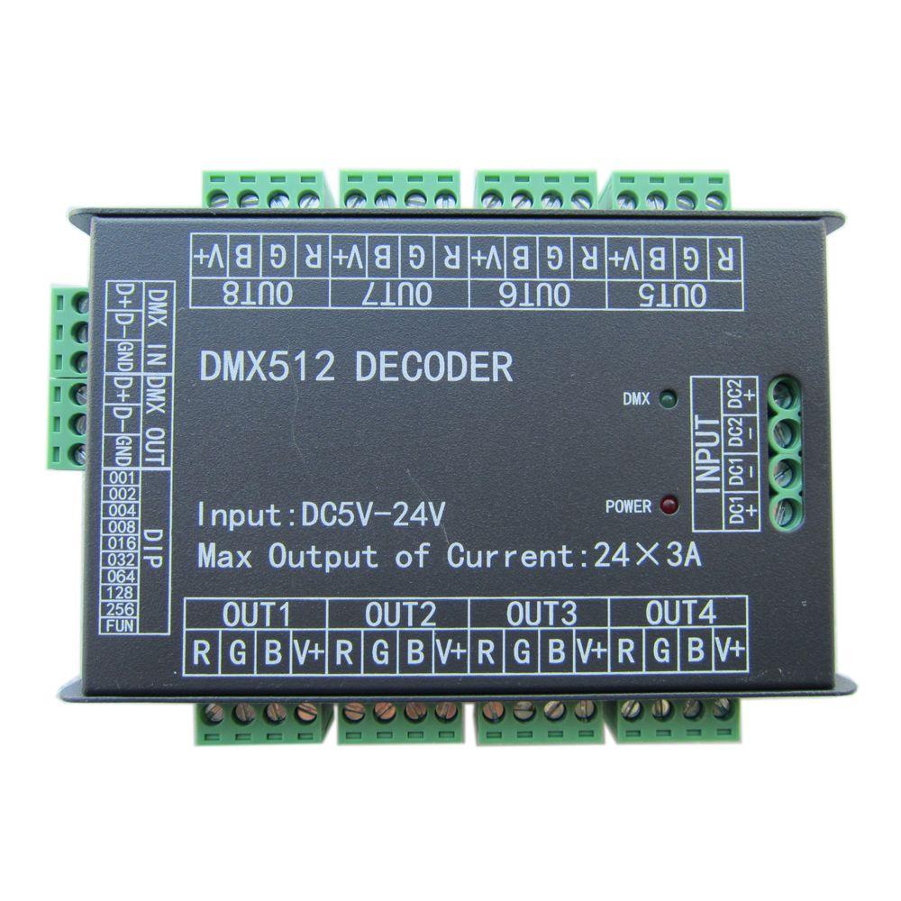 Décodeur facile de dmx512 DMX de 24CH 24 canaux, contrôleur de gradateur de LED, DC5V-24V, contrôleur maximum 3A, 8 groupes rvb, caisse en fer pour la bande de LED