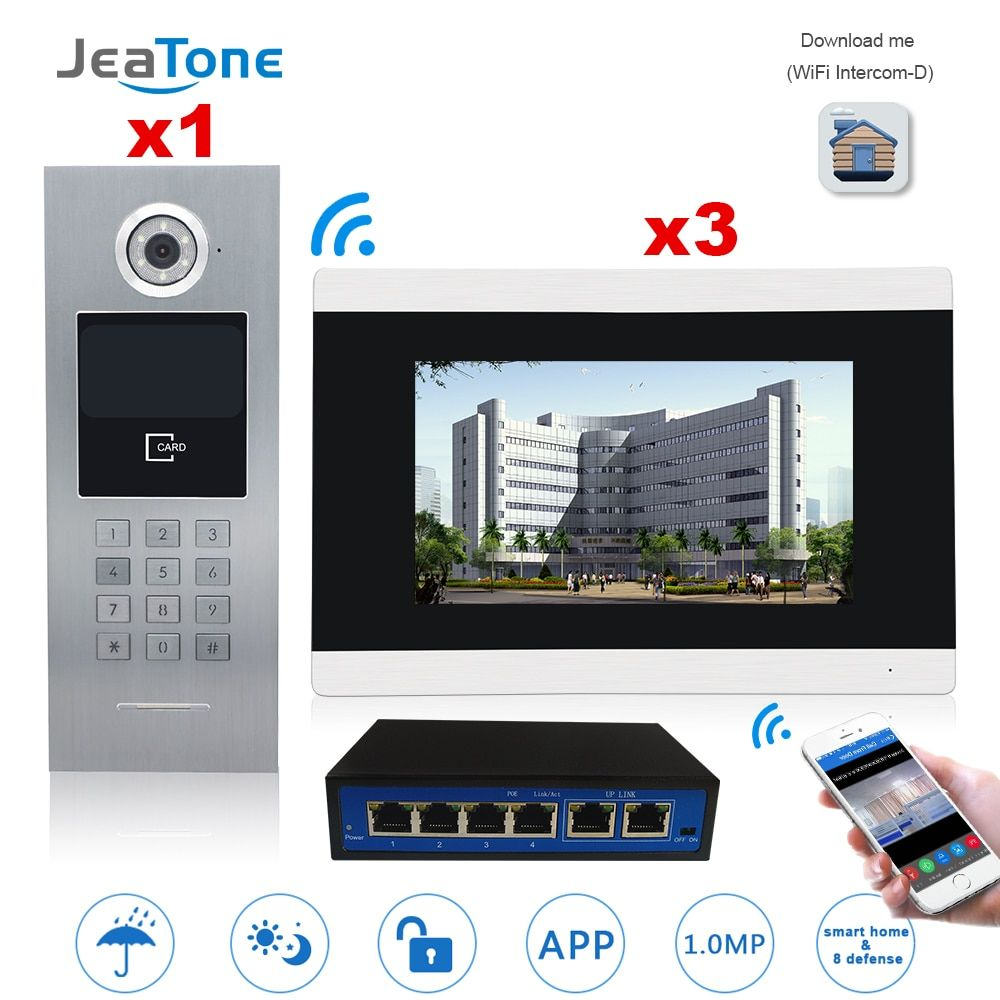 7'' Touch Screen WIFI Video Door Phone IP Video Intercom for Building Access Control System Support Password/IC Card with Switch