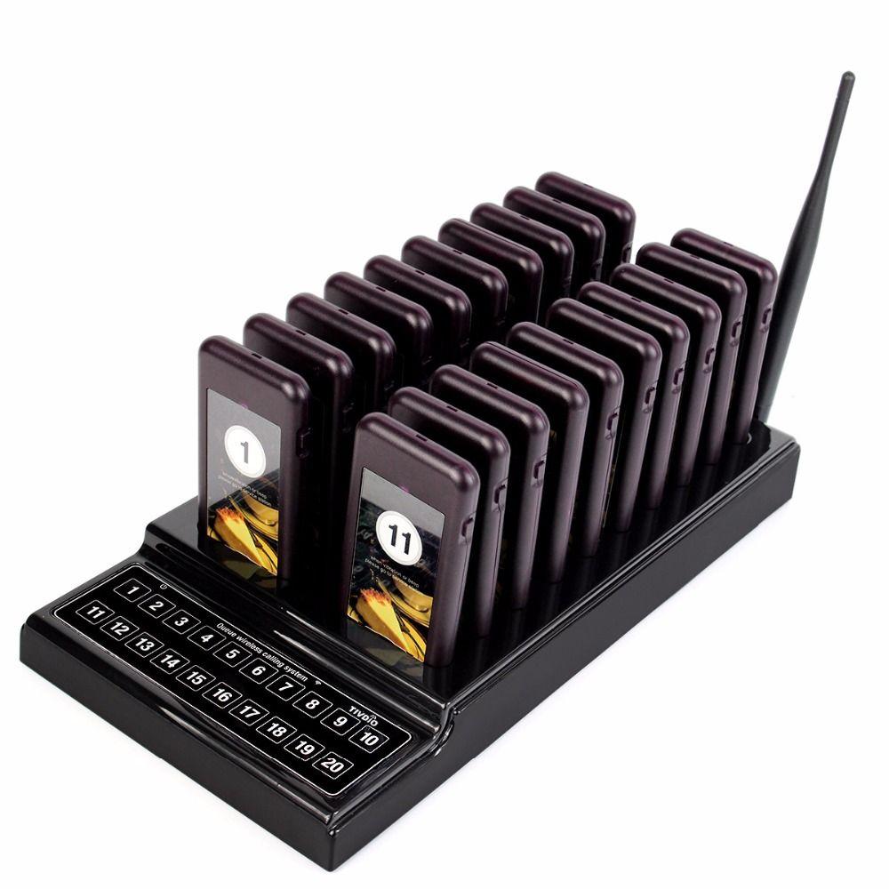 TIVDIO T-111 Restaurant Pager Serveur Système D'appel Sans Fil de Pagination Système de File D'attente 20 Appel Buzzer Quiz Client Service Équipement
