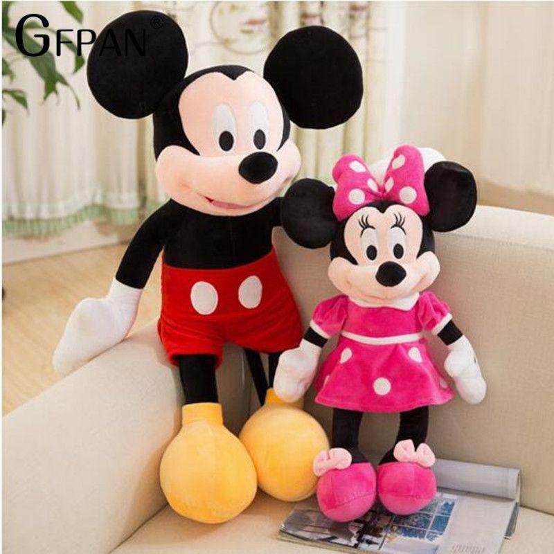 2019 offre spéciale 40-100cm haute qualité peluche Mickey & Minnie souris peluche poupées anniversaire mariage cadeaux pour enfants bébé enfants