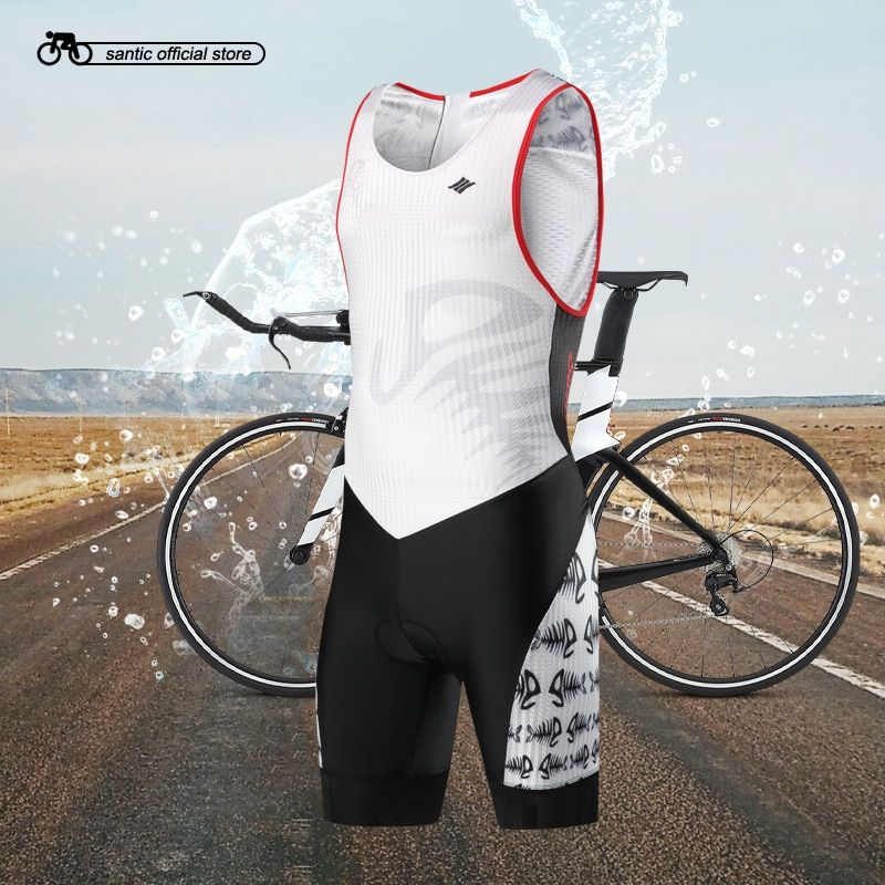 Santic Men Triathlon Sleeveless Cycling Padded Jerseys Quick Dry Skinsuit 4D Pad Bike Jerseys for Swimming Running Cycling 3013