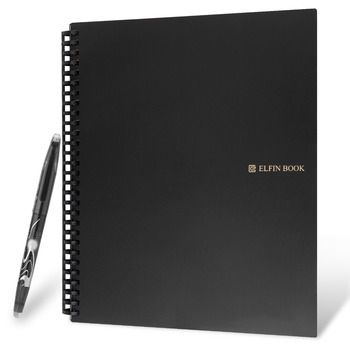 Elfinbook 2.0 Smart Reusable Erasable Notebook Microwave Wave Cloud Erase Notepad Note Pad Lined With Pen