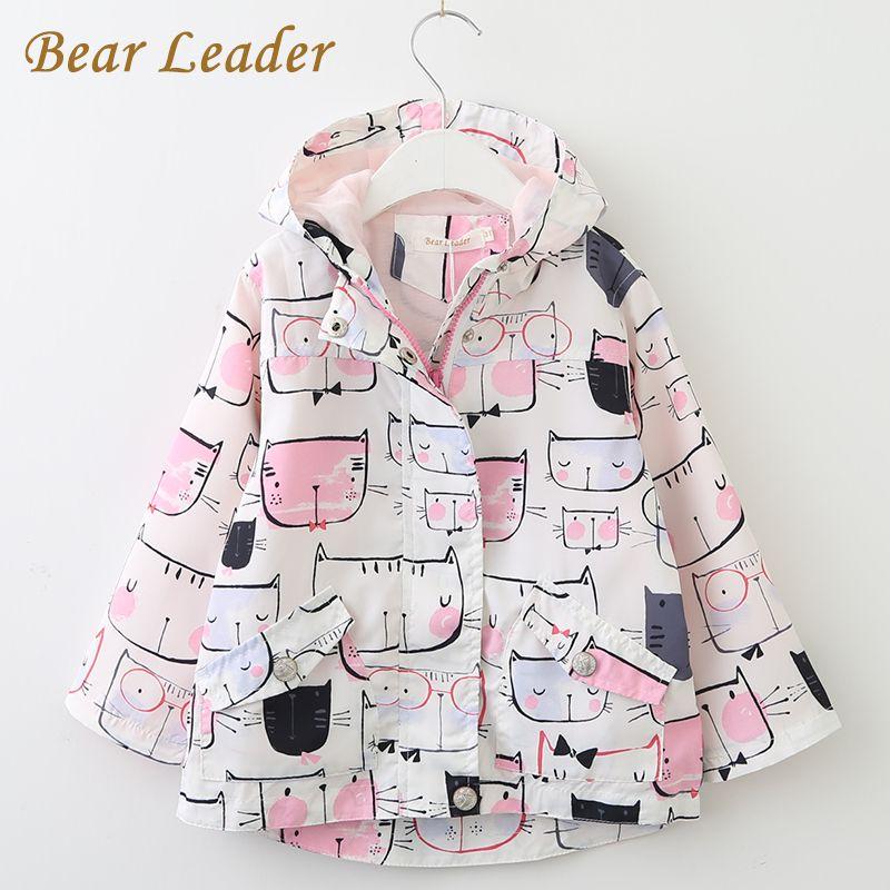 Bear Leader <font><b>Girls</b></font> Coats and Jackets Kids 2018 Spring Brand Children for <font><b>Girls</b></font> Clothes Cartoon Cat Outerwear Hooded kids clothes
