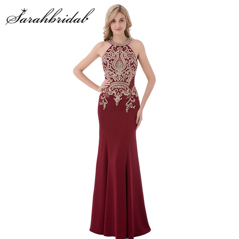 Burgundy Mermaid Evening Dresses 2017 O-Neck Zipper Back In Stock Party Prom Gowns Embroidery with Beaded Long Sweep Train CC440