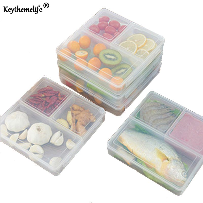Keythemelife 3 Grille Transparent Déjeuner Boxs Portable Grand Food Container bento fruits Collation Bento Micro-ondes Boîte À Lunch D6